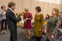 Poděkování prof. Tomáše Kubíčka, ředitele MZK členům hodnotící komise, zprava RNDr: Ivate Macurová, Helena Jalová, Mgr. jana Sikorová