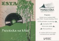 Křest publikace o první československé gramofonové firmě ESTA