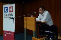 Dr. phil. Stefan Zwicker z univerzity v Bonnu přednáší o společném sportu Čechů a Němců v MZK v Brně.